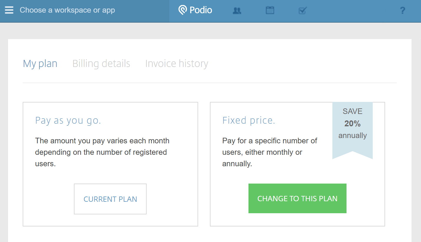 View And Edit Your Paid Plan Podio Help Centre - Billing invoice app